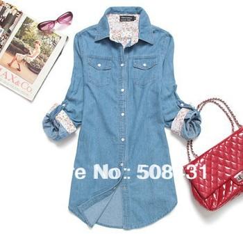 B Fashion Blouses Denim Shirt  Women 2015 Autumn Long-Sleeve Jacket  Plus Size Outerwear Size S,M,L,XL,XXL,XXXL