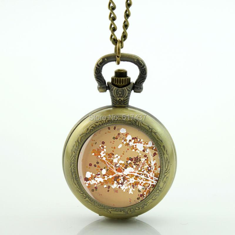 Golden Blossoms Pocket Watch Memory Locket Necklace Vintage Bronze Pocket Watch Necklace(China (Mainland))