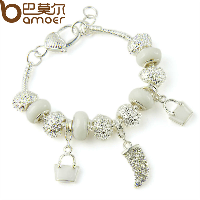 BAMOER 925 Silver Crystal Charm Bracelets & Bangles With White Murano Glass Beads Handmade Jewelry PA1336