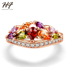 Buy AAA Zircon Colored Stone Rose Gold Color Ring CZ Crystal Engagement Jewelry Classic Round Wedding Rings for Women R489 for $2.00 in AliExpress store