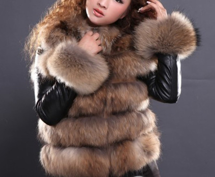 Top New Fashion 2016 Winter Genuine Sheepskin Leather Jacket Raccoon Fur Coat Real Natural Coats Women's Female Overcoat - store