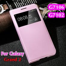 Умный вид рукавом авто-сон оболочки оригинальный кожаный чехол откидная крышка чехол для Samsung Galaxy 2 дуэта G7102 G7105 G7106