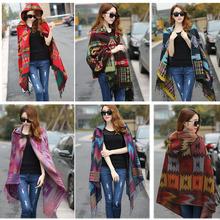 New Fashion Fringe Ethnic Geometric Women's Batwing Cape Poncho Knit Top Cardigan Sweater Coat Hip Scarf Shawl Free Shipping(China (Mainland))