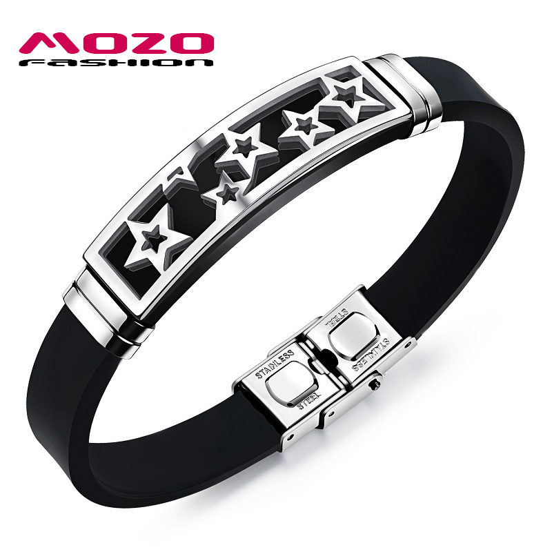 MOZO FASHION Hot Brand Men's Stainless Steel Silicone Rubber Wristband Star Bracelet Stylish Men Casual Jewelry 2 Colors MPH1088(China (Mainland))