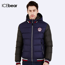 ICEbear 2016 Rib Knit Sleeves Hat Detachable Thick Warm New Winter Cotton-Padded Jacket For Young Men Fashion Parka Coat 16MD872(China (Mainland))