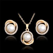 MISANANRYNE Trendy Perle Kristall Schmuck Set AAA Goldene Ohrringe Halskette Set Drachen drehen stil Tropfen Ohrringe für Frauen Geschenk(China)