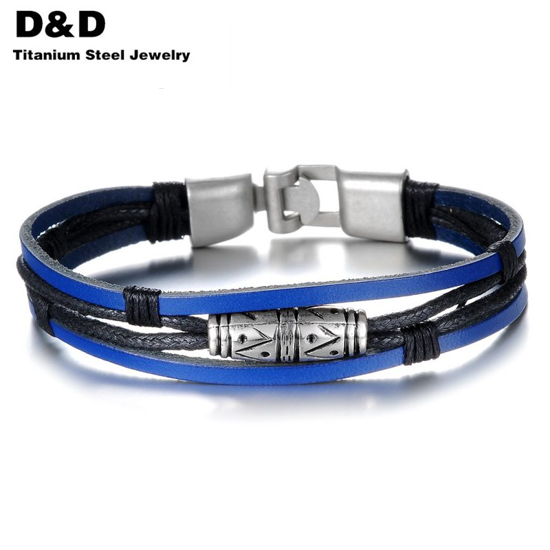 2016 Handmade Multilayer Man Bracelets Fashion New 2016 Blue Leather Braided Vintage Jewelry For Men Anchor Clasp PH879TYA(China (Mainland))