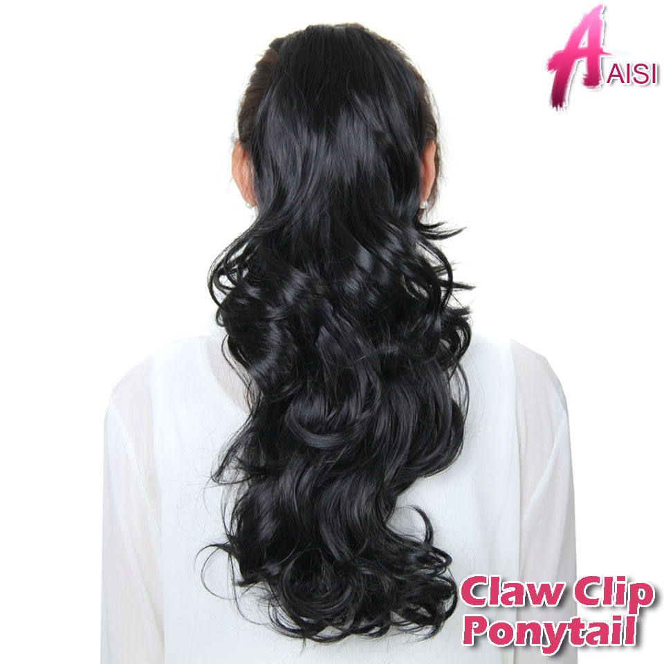 26inch Synthetic Long Wowen Curly Wavy Claw Clip Ponytail Hair Extension heat resistant Hairpiece Hair Piece my little Pony Tail(China (Mainland))
