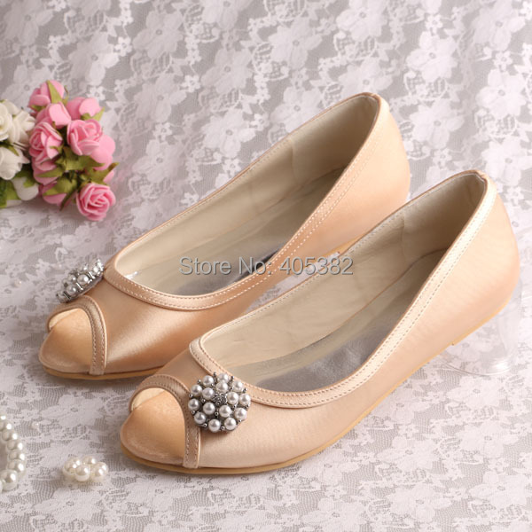 Wedopus Wholesale and Retail Champagne Satin Ballet Flats Shoes Open Toes Size 8 with Pearl Free Shipping(China (Mainland))
