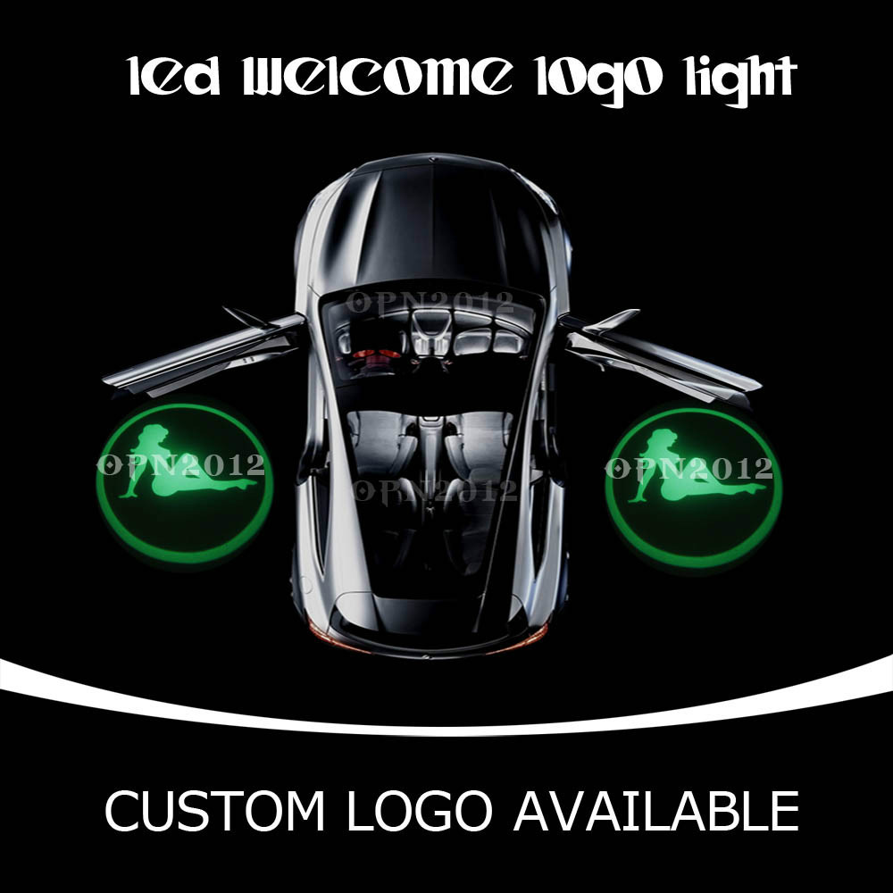 2x Latest LED Auto Welcome door laser projector Emblem Ghost Shadow light Sexy Girl 1950 Green(China (Mainland))