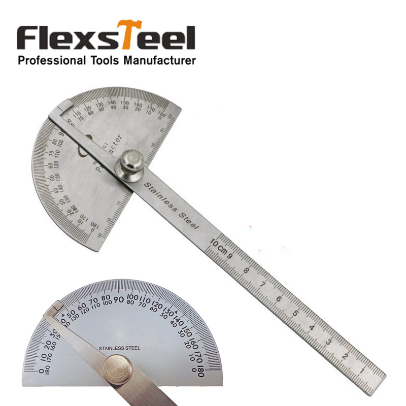 Professional Stainless Steel Protractor 0-180 degrees Round Head with 4 Inch 10cm Ruler Measuring &amp; Gauging Tools<br><br>Aliexpress