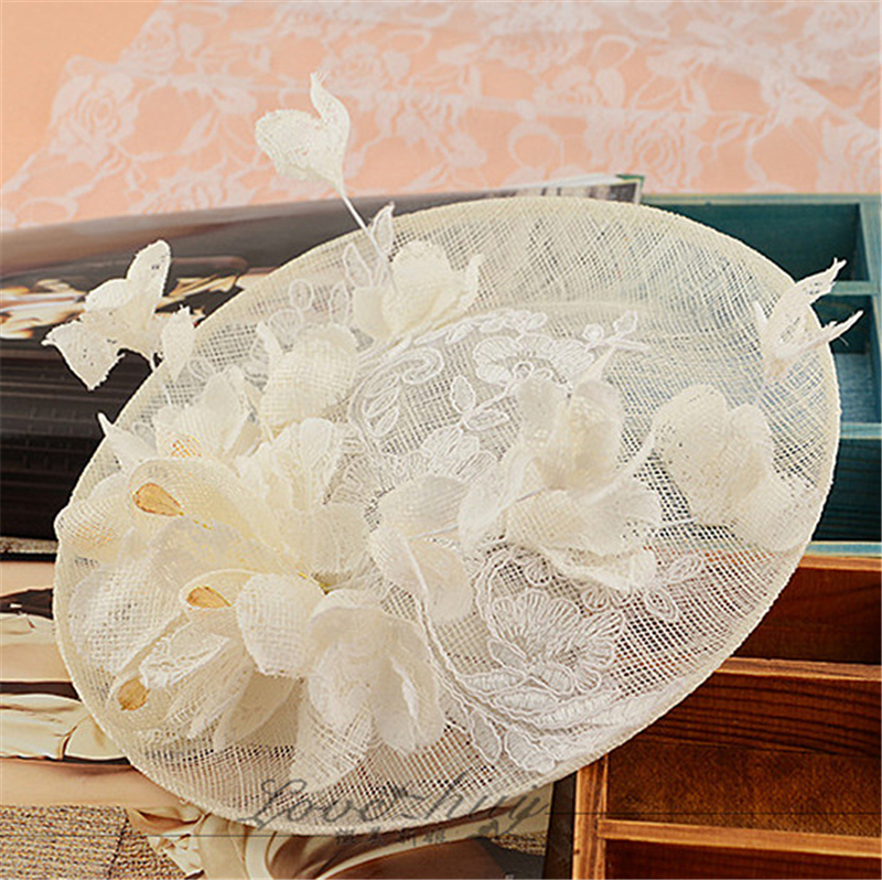 Sinamay Disc Lace Fascinator Clip Hat With Silk Flowers Bridal Headpiece Wedding Hats And Fascinators Hair Accessories WIGO0798(China (Mainland))