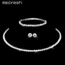 Mecresh קלאסי כסף צבע קריסטל כלה תכשיטי סטים אפריקאי חרוזים ריינסטון חתונת שרשרת עגילי צמיד סטי 3TL002(China)