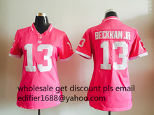 100% stitched WOMEN PINK Love New York Giants ladies 10 Eli Manning 13 Odell Beckham Jr. 80 Victor Cruz Embroidery Logos(China (Mainland))