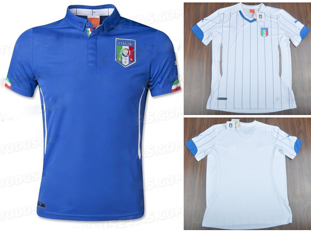 Italy 2014 World Cup soccer jersey home away blue white top thai 3A+++ quality Italy football jerseys(China (Mainland))
