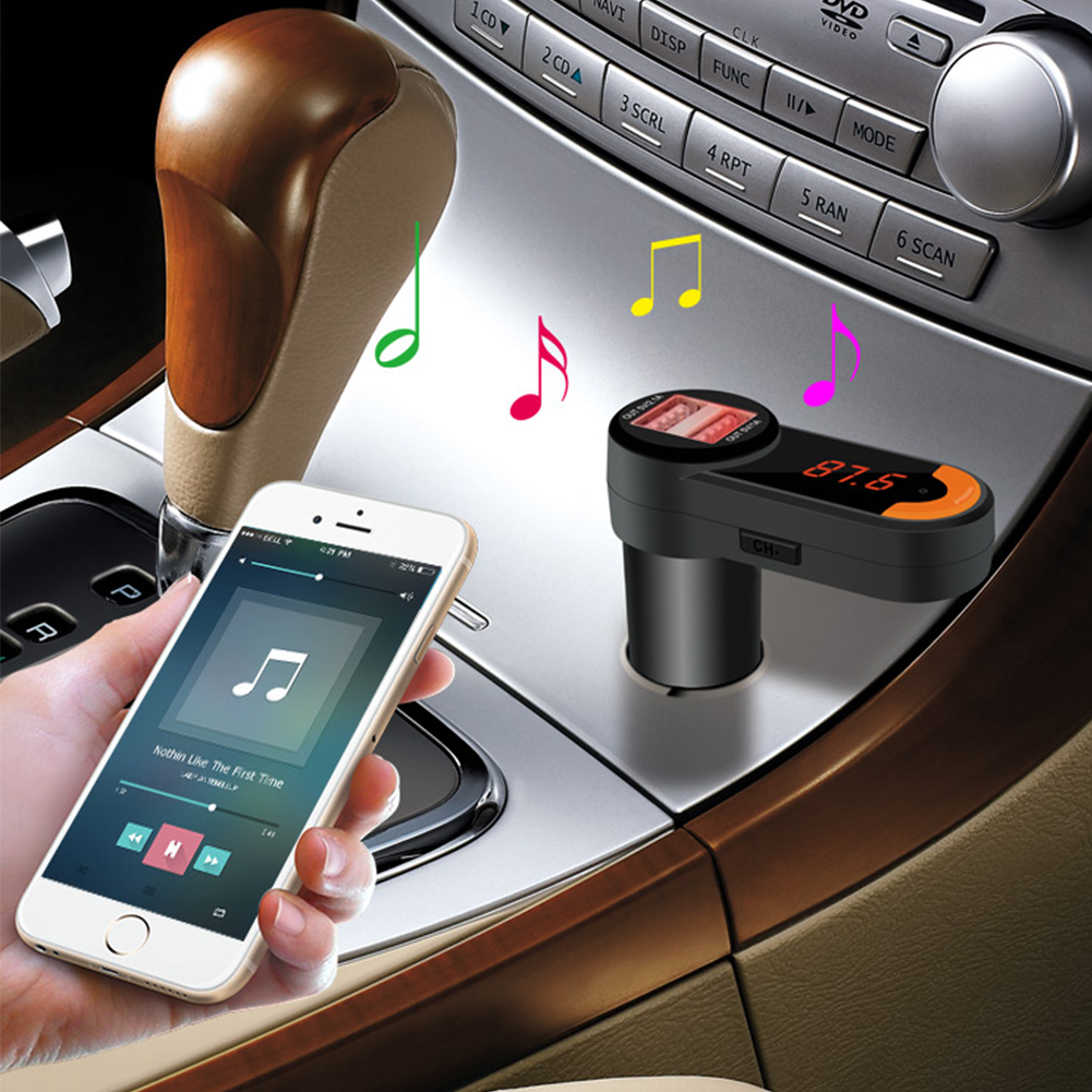 FM Transmitter Bluetooth Player Car Kit Dual USB Port Charger Hands-free MP3 Mic(China (Mainland))