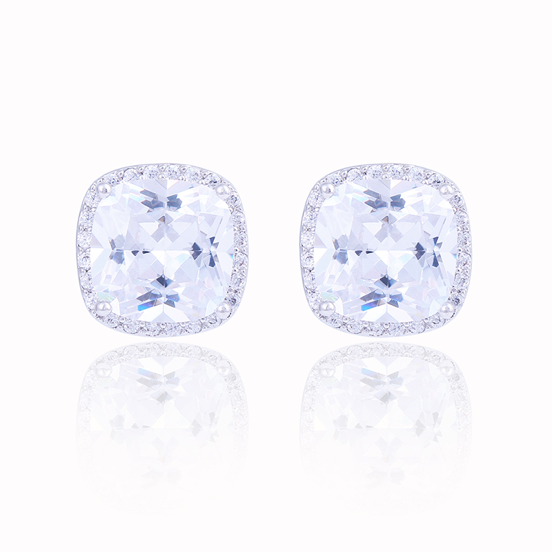 Women's White Gold Halo Earrings Top Quality Cubic Zirconia Micro Pave Cluster Silver Square Stud Earrings(China (Mainland))