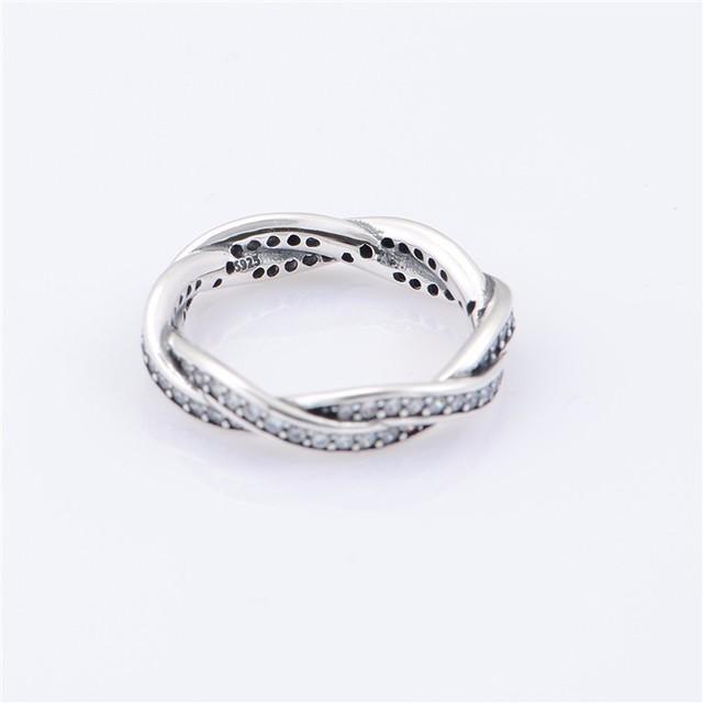 Чистый 925-Sterling-Silver ирония судьбы стекируемые кольцо с CZ камни совместимость с европейскими марка ювелирные изделия DIY выводы