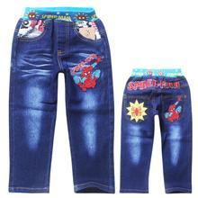 spiderman boys jeans spring 2015 new denim pants for children elastic waist toddler baby kids long tourser(China (Mainland))