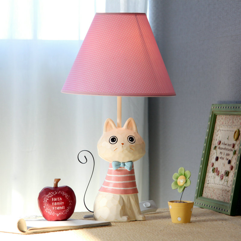 iron cat table lamp bedroom bedside lamp decoration dimming fashion cartoon child table lamp. Black Bedroom Furniture Sets. Home Design Ideas
