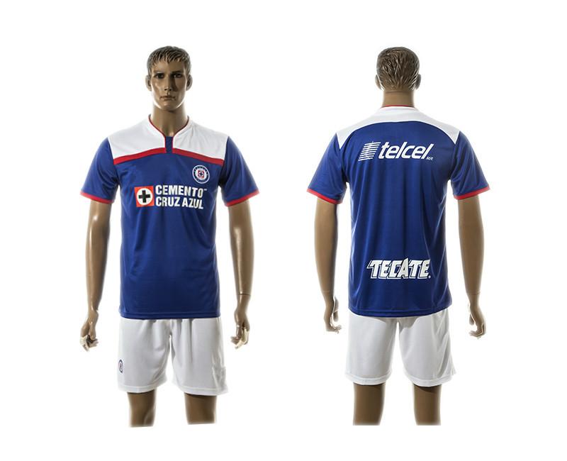 Embroidery 2016 Cruz Azul de Mexico Jerseys Football Kit Men MEXICO Club Maillot De Foot 15 16 Soccer Jersey Set(China (Mainland))