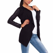 Spring Women PU Leather Sleeve Irregular Sweater Cardigan Casual Knit Coat YD96(China (Mainland))