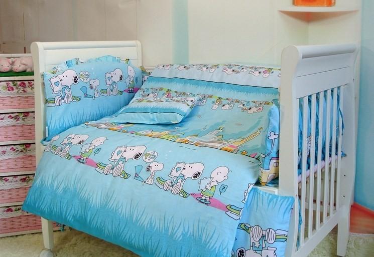 Фотография Promotion! 7pcs baby bedding baby crib sheets 100% cotton bedding bumper crib bumper (bumper+duvet+matress+pillow)