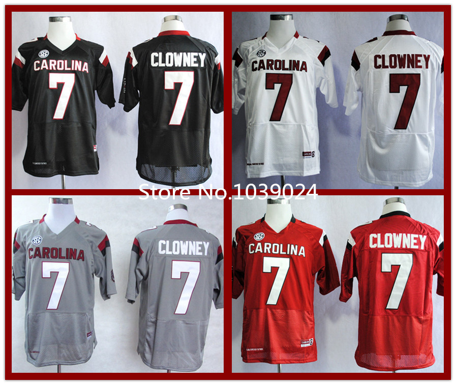 NWT South Carolina Gamecock #7 Jadeveon Clowney Jersey Red White Black Grey Stitched College Football Jersey Cheap Wholesale Now(China (Mainland))