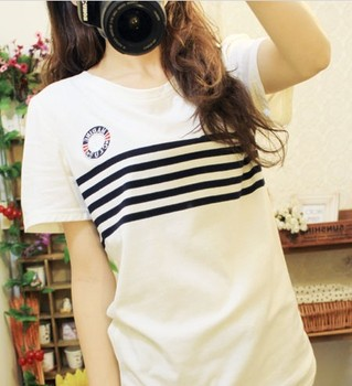 Free Shipping women's sexy fashion Summer 2013 preppy style small fresh navy style stripe embroidery badge slim t-shirt 6057