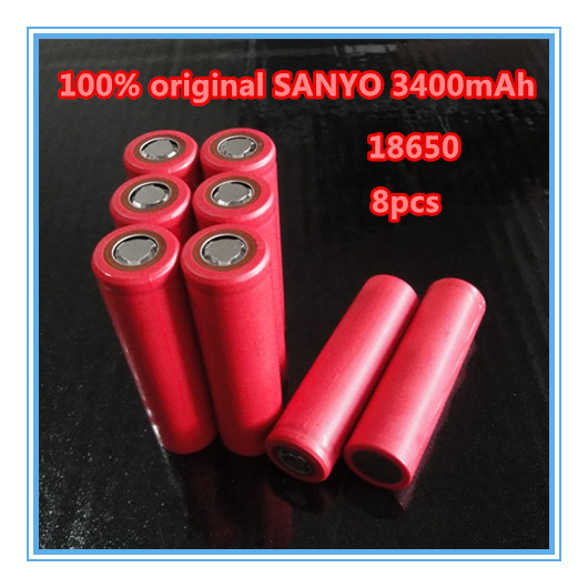 8PCS/LOT 2015 new original Sanyo 18650 3.7V 3400mAh NCR18650BF rechargeable lithium battery electronic cigarette industry(China (Mainland))