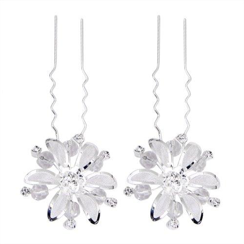 5 X UESH Set Mesh Flower Wedding Prom Silver Plated Rhinestone Hair Pins Clips(China (Mainland))