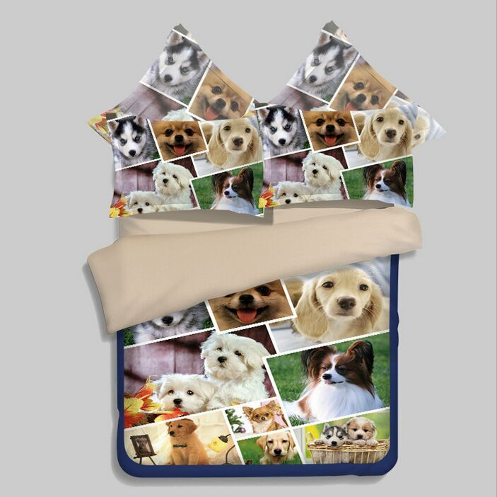 sweet pet dog print bedding sets children's bedspread twin ...
