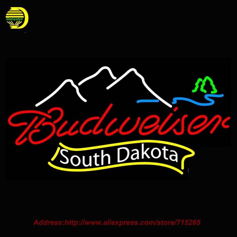 Budweiser South Dakota Beer Light Neon Sign HandCraft Decoration Garage Neon Bulb Glass Tube Real Neon Sign Attract Bright 37x20(China (Mainland))