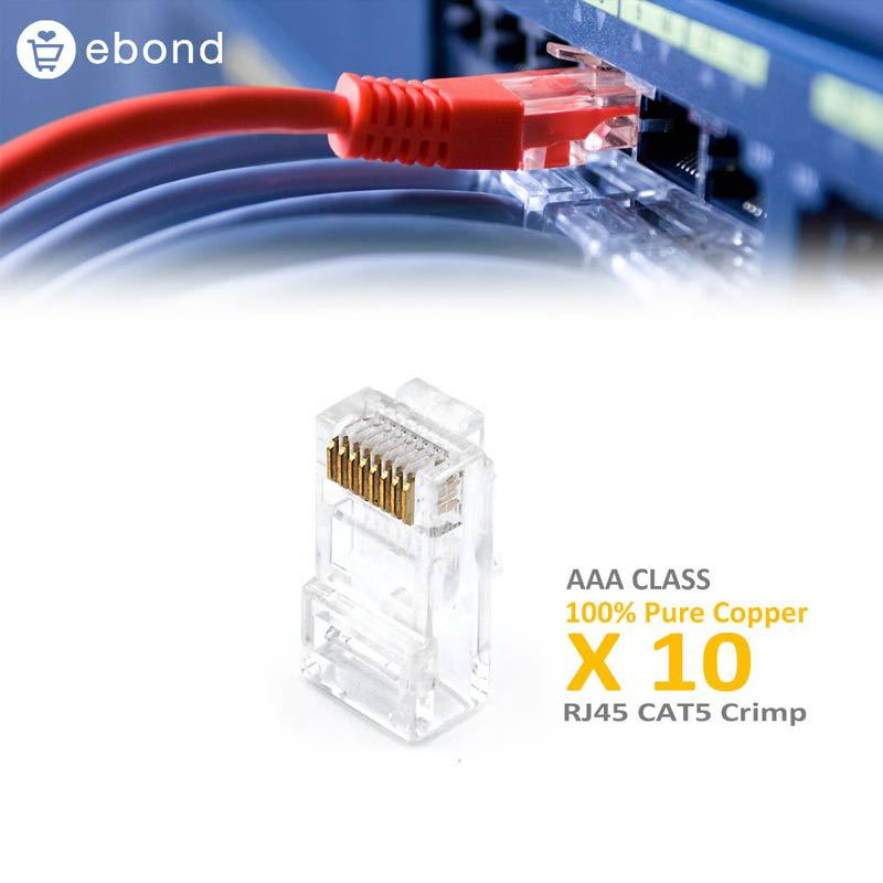 10 Pieces Pure Copper Computer Cable Connector Lotes RJ-45 RJ 45 AAA CLASS Best Quality(China (Mainland))