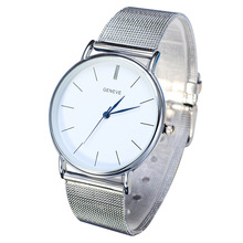 Simple Silver Gold Watch 2015 Fashion Elegant Quartz Watch Mesh Steel Dress Watch Women Men Casual Watch FreeShipping Wristwatch