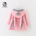 Yejia Fashion Autumn Winter Thicken Kids Coat Animal Rabbit Design Cardigan Cotton Children Jackets Hooded Girls