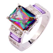 Free Ship Popular Amethyst Morganite Pink Sapphire Rainbow Topaz 925 Silver Ring Size 7 8 9