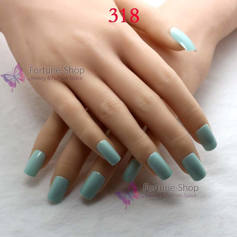 24pcs/set natural candy color false nails half acrylic Artificial nails french false nails Free Double Side Adhesive Tape 318(China (Mainland))