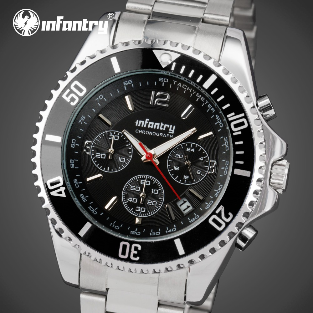 INFANTRY Men Stainless Steel Band Sport Wristwatches Analog Time Display 3M Water Resistant Stop Watches Relogio Masculino(China (Mainland))