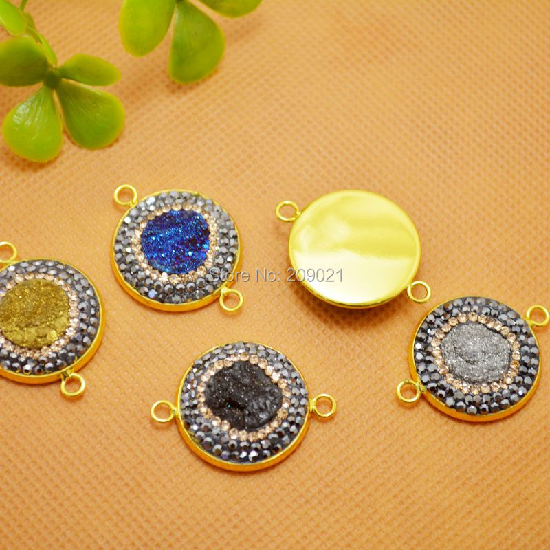 8Pcs Gold Plated Druzy Rhinestone Crystal Connectors, Drusy Quartz Stone Connector in Mixed color, For Jewelry Making Bracelet
