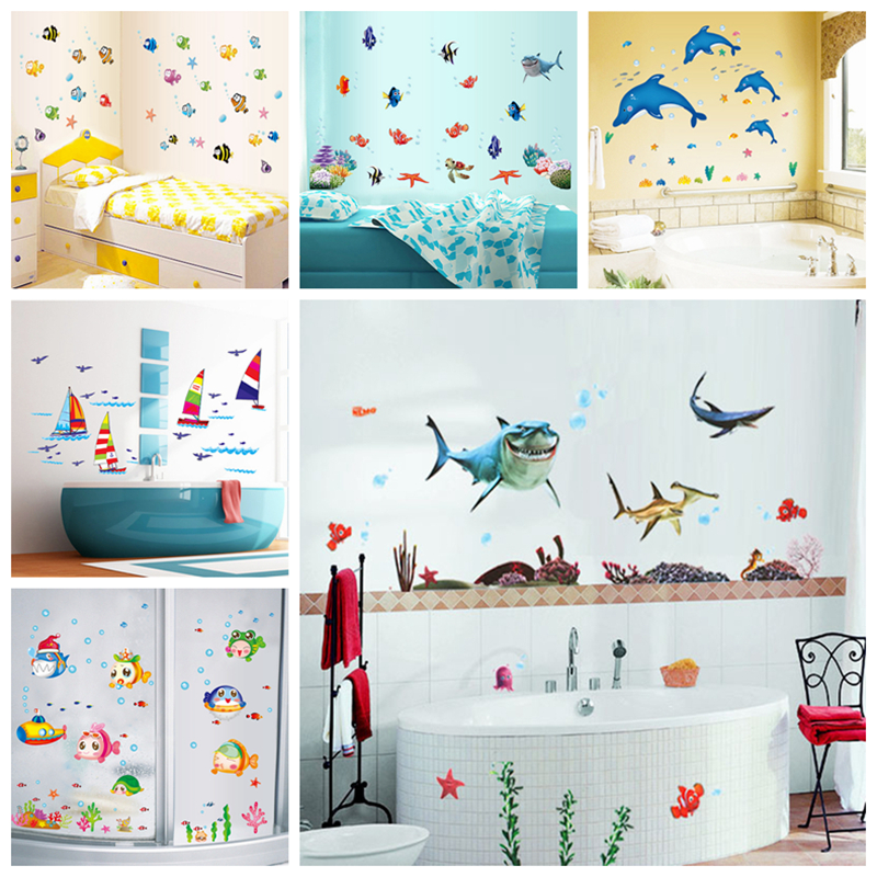 Waterproof wall sticker wall decal adhesive home decor art for Waterproof bathroom murals