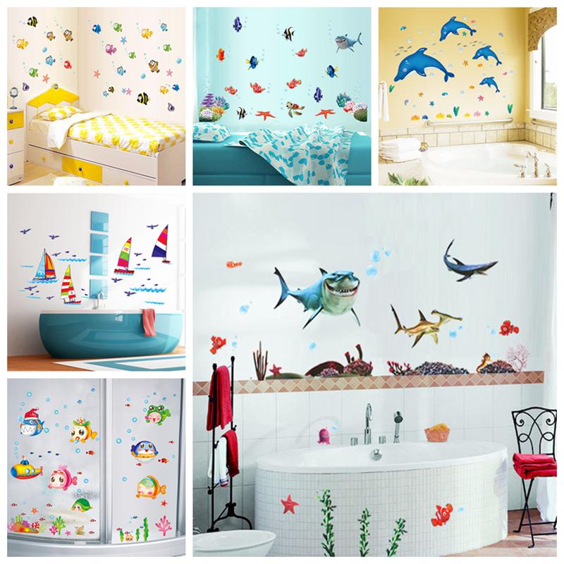 Waterproof wall sticker wall decal adhesive home decor art mural diy bathroom fish in wall - Bathroom wall decor diy ...