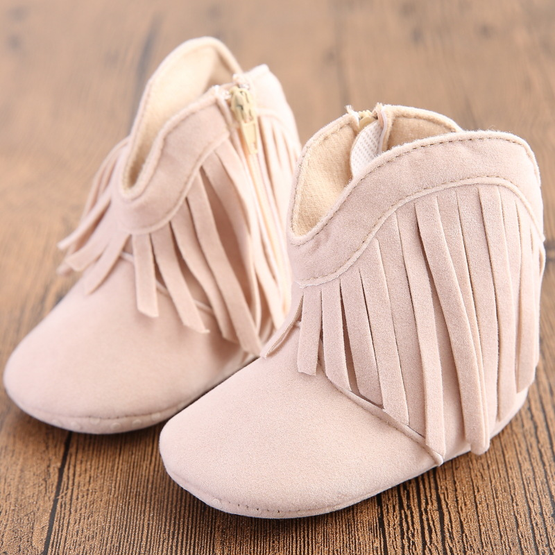 Moccasin Moccs Newborn Baby Girl Boy Kids Prewalker Solid Fringe Shoes Infant Toddler Soft Soled Anti-slip Boots Booties 0-1Year(China (Mainland))