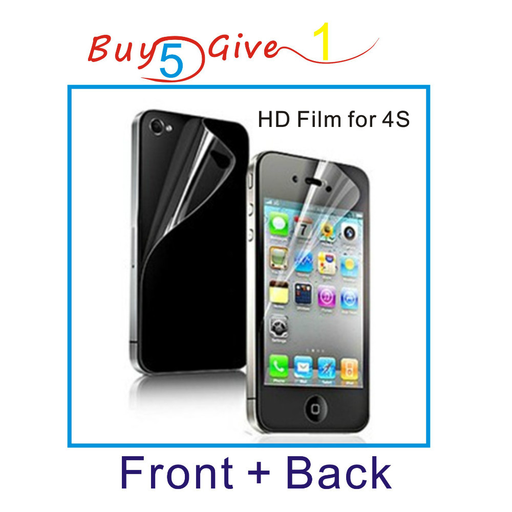 Front + back - HD clear screen protector for iPhone 4 4S clear screen protective film screen guard with cleaning cloth for gift(China (Mainland))