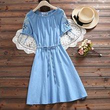 Японский Mori Girl летнее женское милое платье из потертой джинсовой ткани, хлопок, на шнуровке, Vestidos, с цветочной вышивкой, элегантные милые пла...(China)