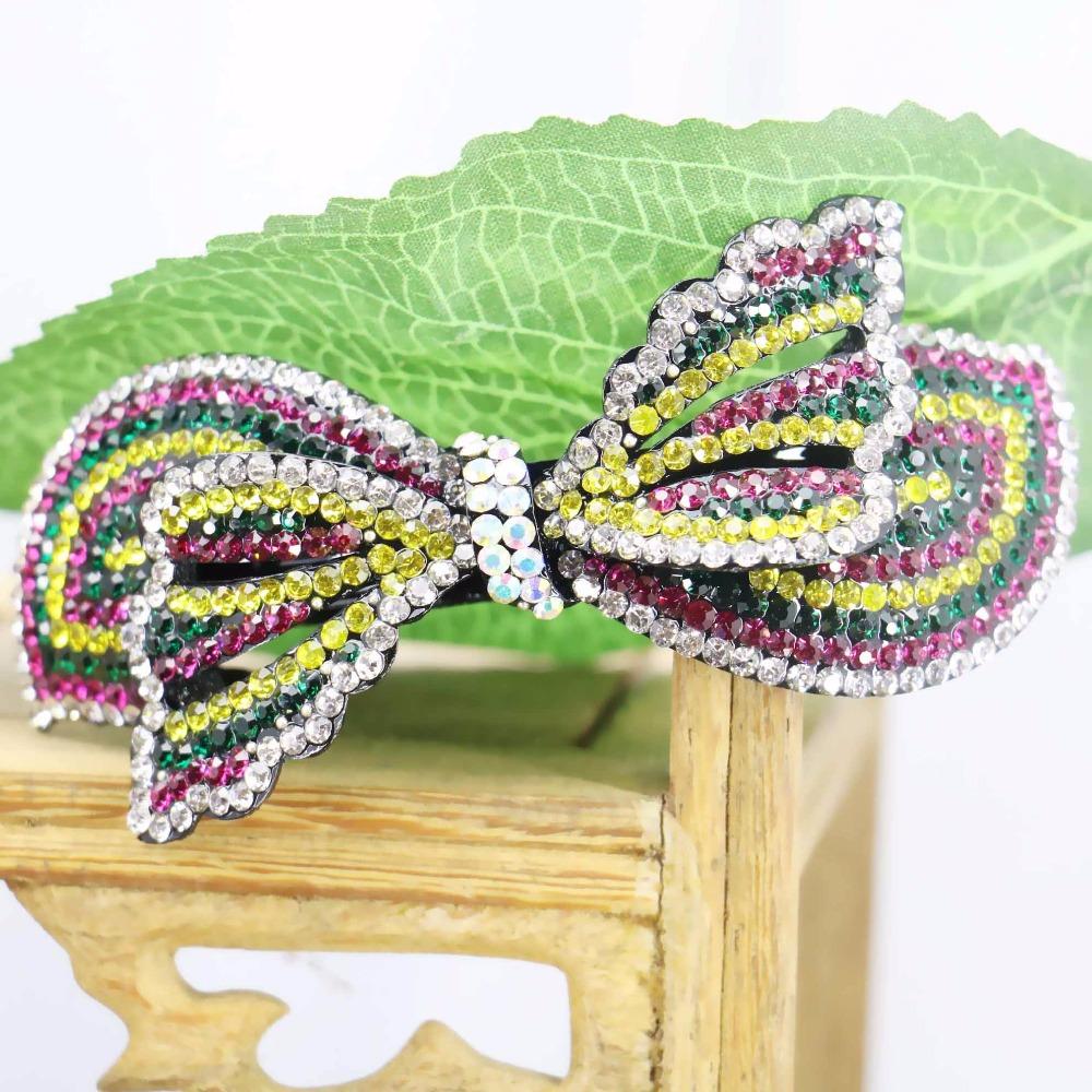 40x90mm Butterfly Bows Bowknot Hair Accessory Wedding Headdress Bridal Hairpin Rhinestone Hair Clip Head Bands Headband(China (Mainland))