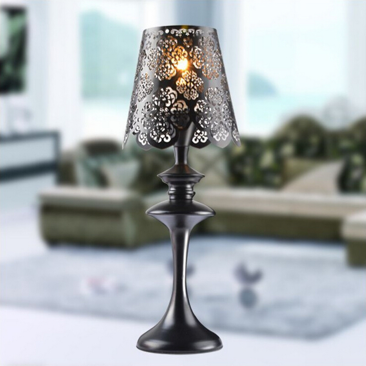 European wrought iron table lamp black lace lampshade - Black table lamps for living room ...