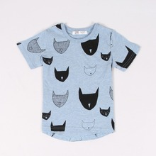 Free Shipping 2015 Brand New Summer Kids Tshirt 100 Cotton Jersey allover cat print Short Sleeves