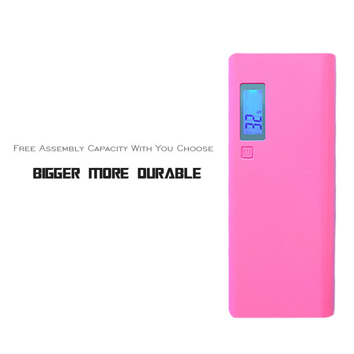Dual USB 5*18650 Charger Channel Portable Mobile Power Bank Case External Battery With LCD & LED Light Free Shipping(China (Mainland))