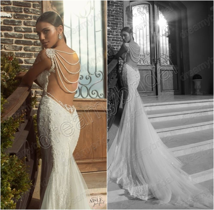 Sexy backless vintage romantic mermaid trumpet slim tulle for Vintage beaded lace wedding dress
